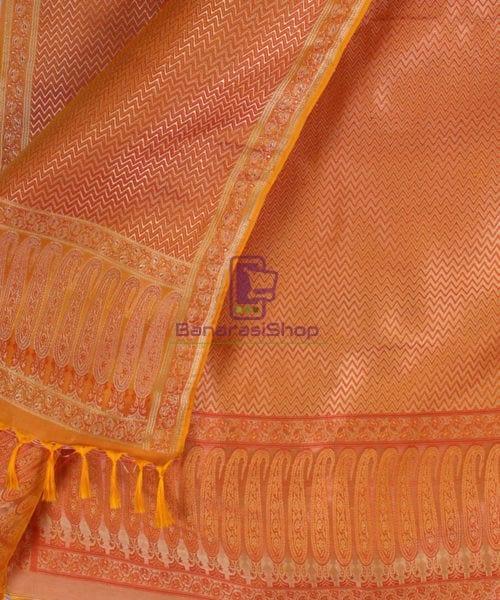 Handwoven Tanchoi Banarasi Silk Stole in Yellow Orange 4