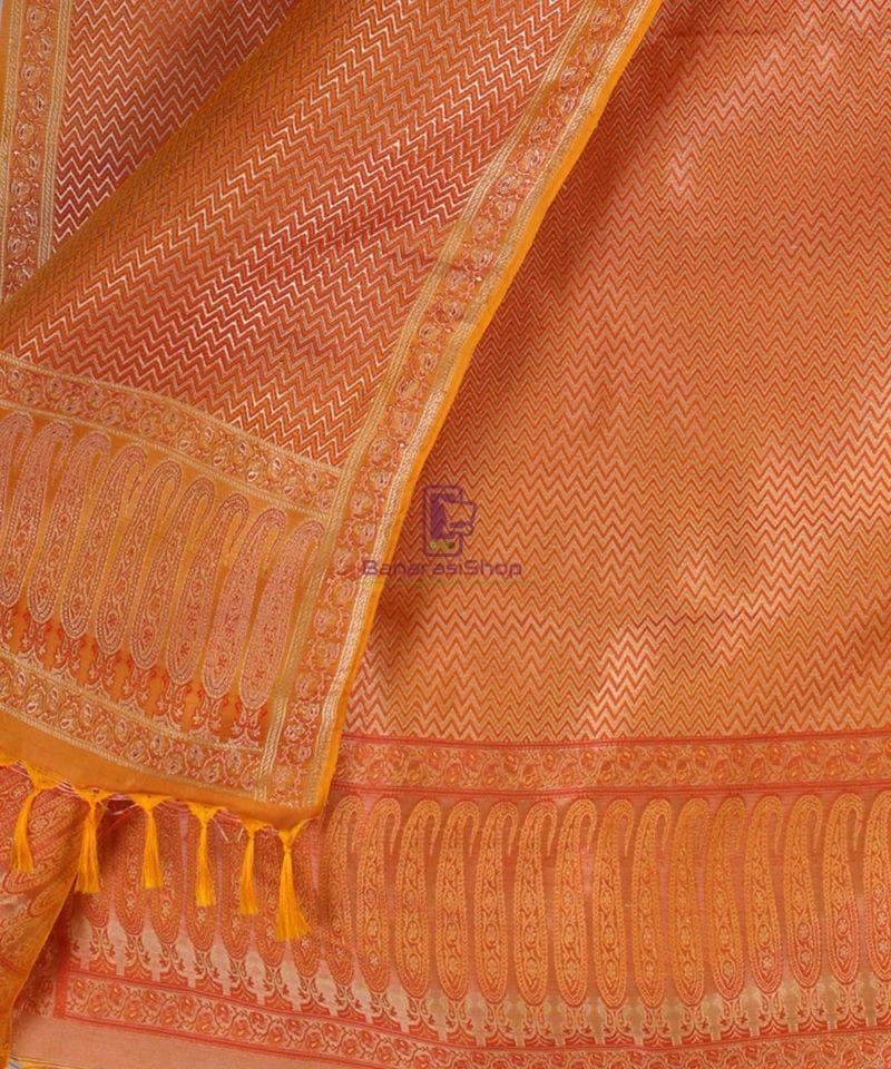Handwoven Tanchoi Banarasi Silk Stole in Yellow Orange 2