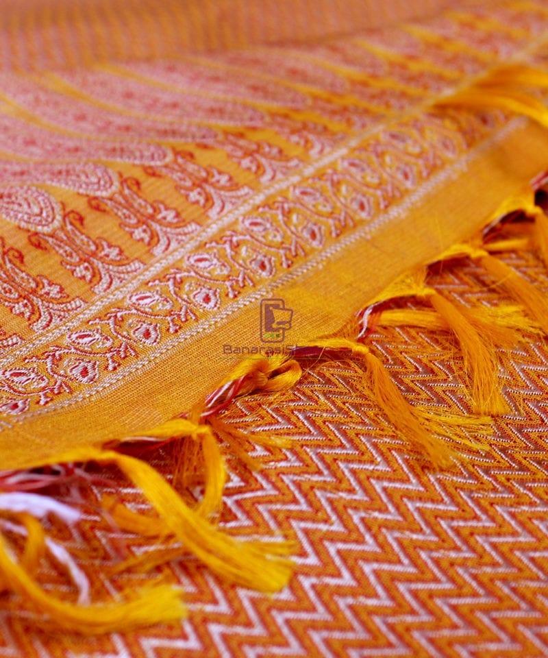 Handwoven Tanchoi Banarasi Silk Stole in Yellow Orange 1