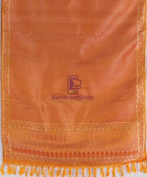 Handwoven Tanchoi Banarasi Silk Stole in Yellow Orange 5