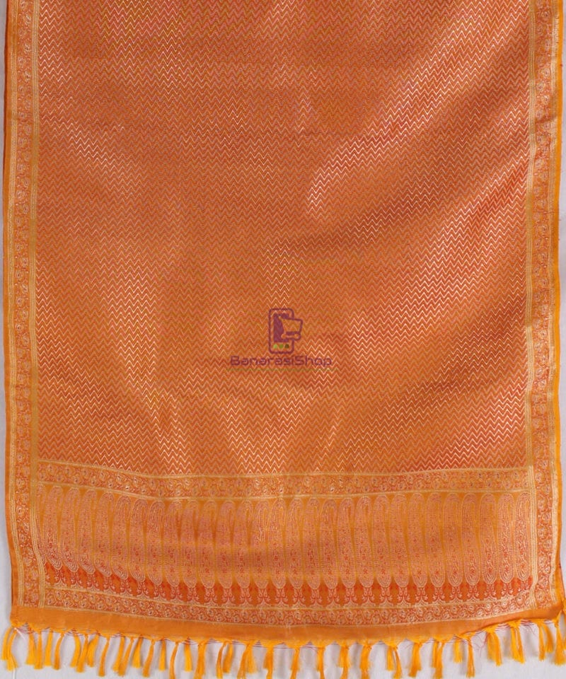 Handwoven Tanchoi Banarasi Silk Stole in Yellow Orange 3