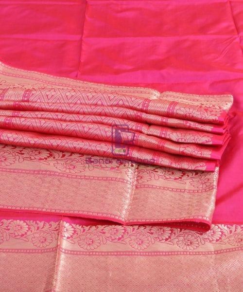 Banarasi Pure Katan Silk Handloom Pink Saree 7