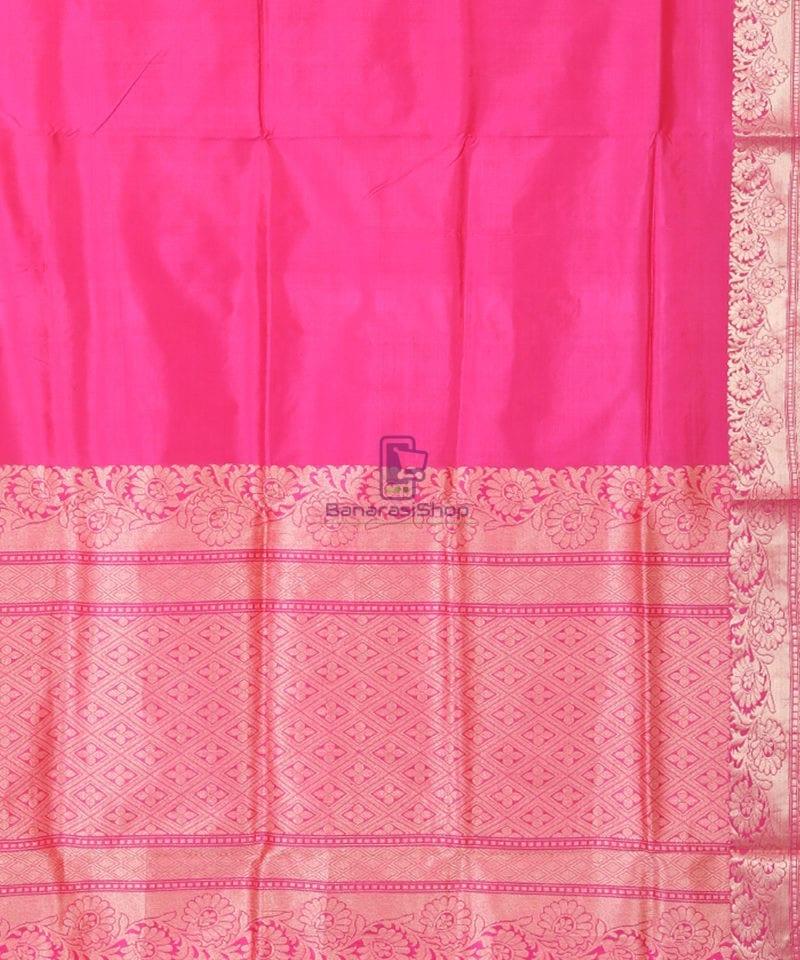 Banarasi Pure Katan Silk Handloom Pink Saree 2