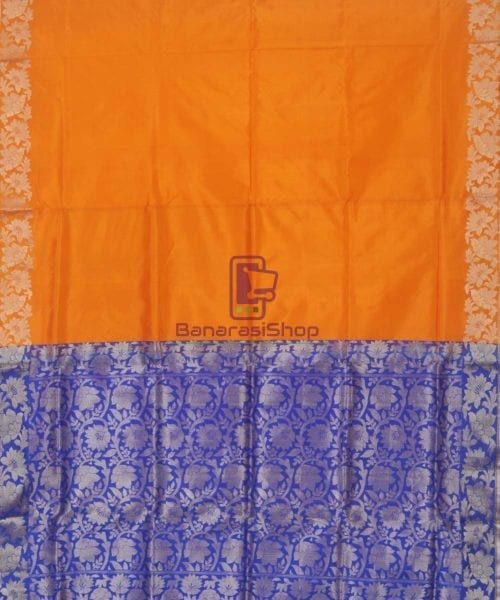 Banarasi Pure Handloom Orange Katan Silk Saree 5
