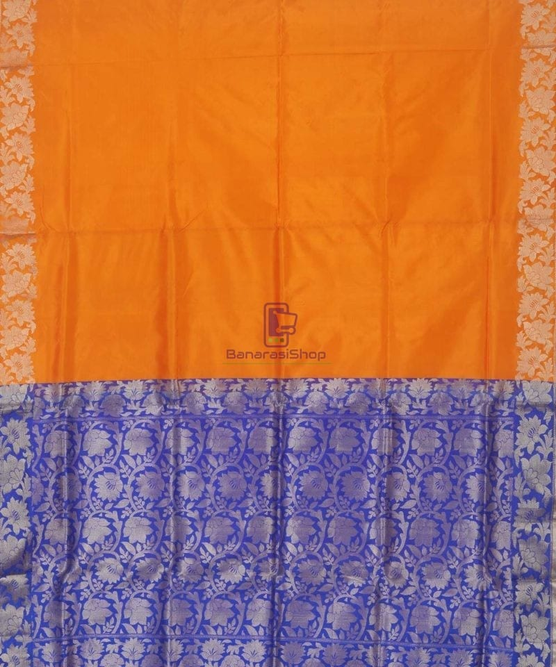 Banarasi Pure Handloom Orange Katan Silk Saree 2
