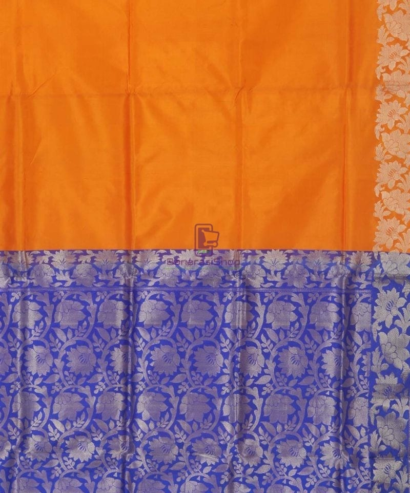 Banarasi Pure Handloom Orange Katan Silk Saree 3