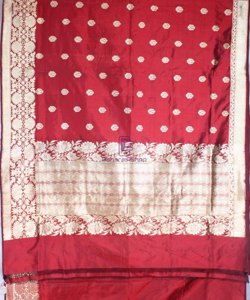 Handwoven Pure Katan Banarasi Silk Saree in Royal Red 3