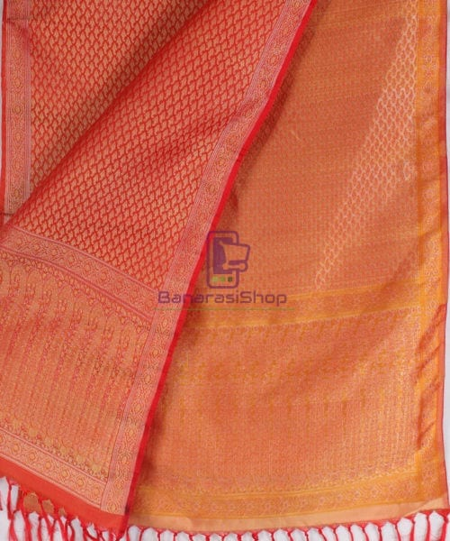Handwoven Tanchoi Banarasi Silk Stole in Red 4
