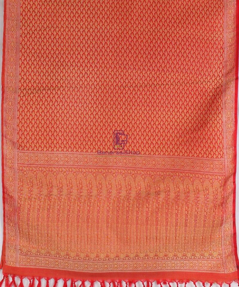 Handwoven Tanchoi Banarasi Silk Stole in Red 3