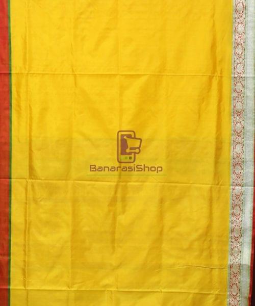 Banarasi Pure Katan Silk Handloom Yellow Saree 5