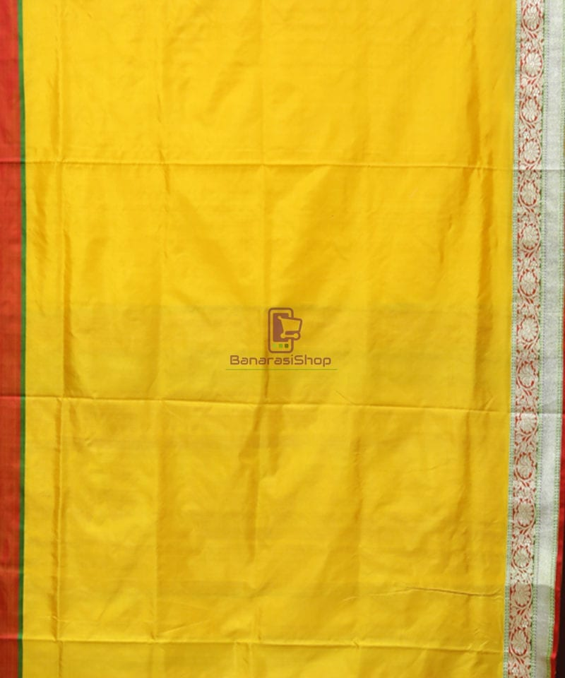 Banarasi Pure Katan Silk Handloom Yellow Saree 2