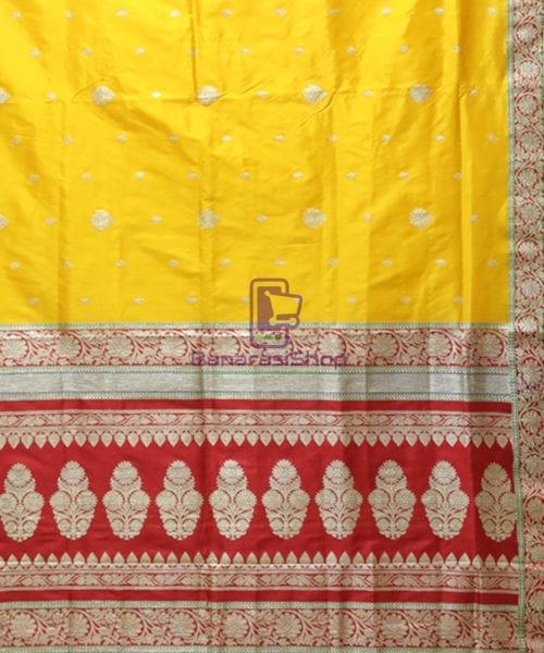 Banarasi Pure Katan Silk Handloom Yellow Saree 6