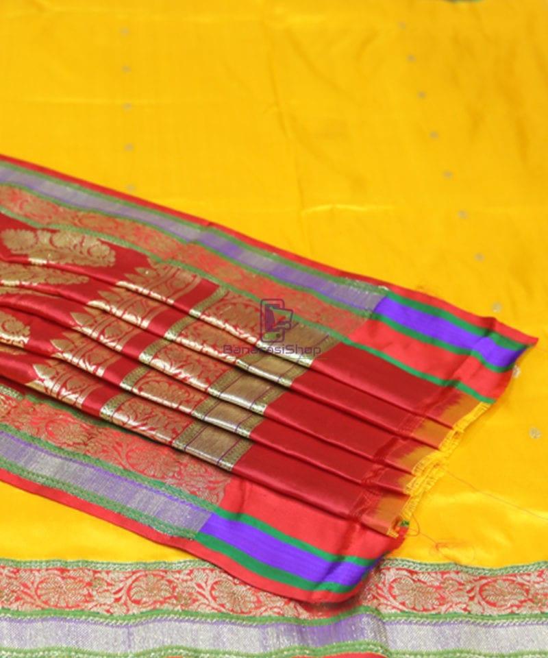 Banarasi Pure Katan Silk Handloom Yellow Saree 4