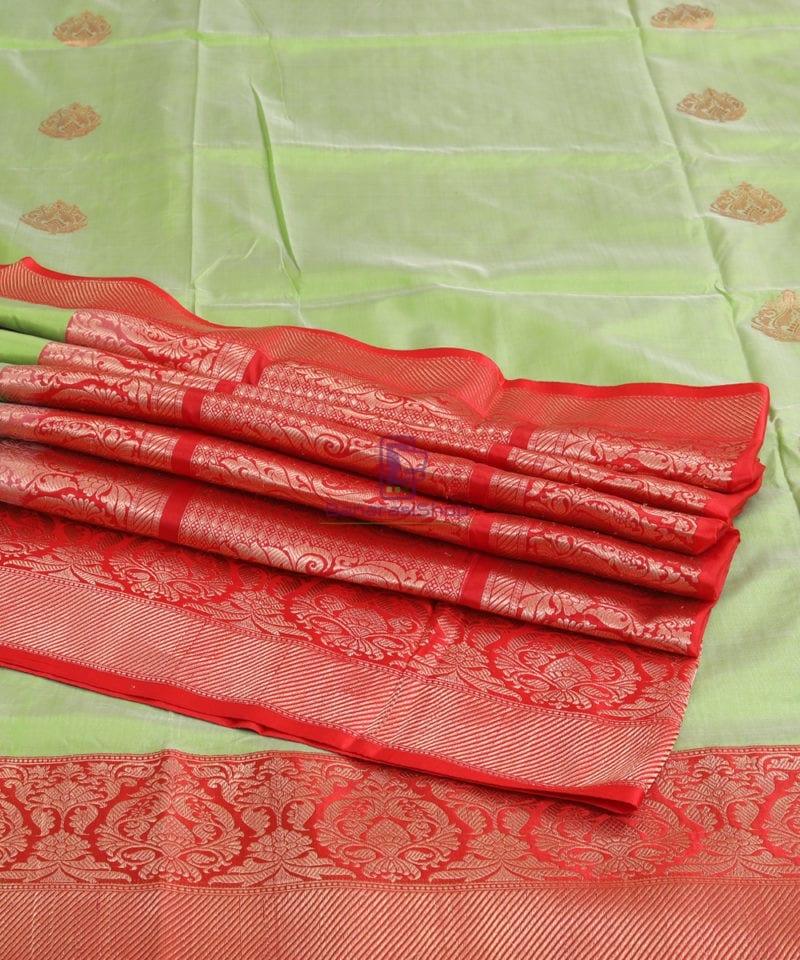Banarasi Pure Katan Silk Handloom Lime Green Saree 4