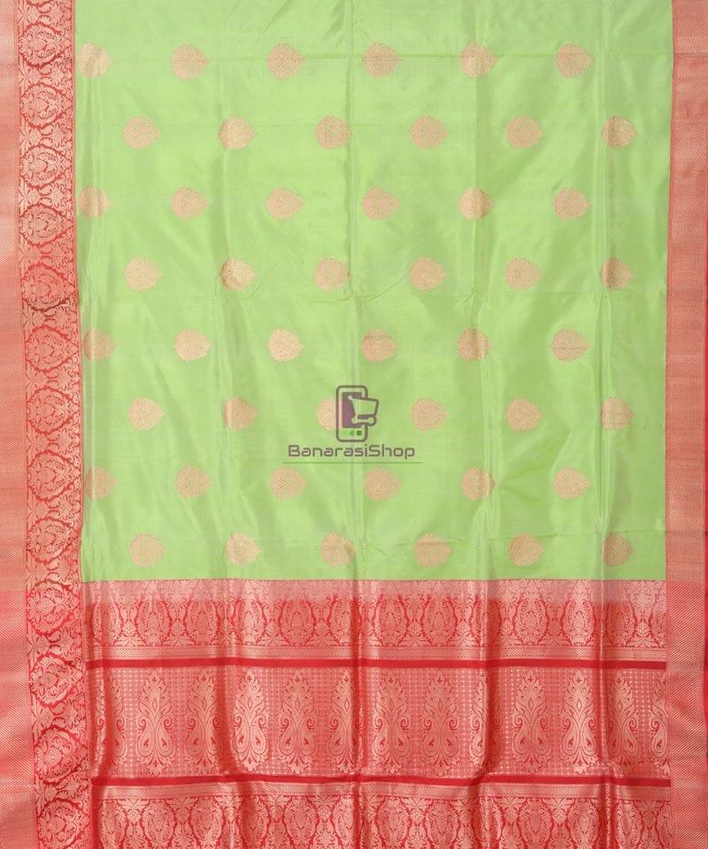 Banarasi Pure Katan Silk Handloom Lime Green Saree 1