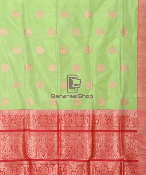 Banarasi Pure Katan Silk Handloom Lime Green Saree 5