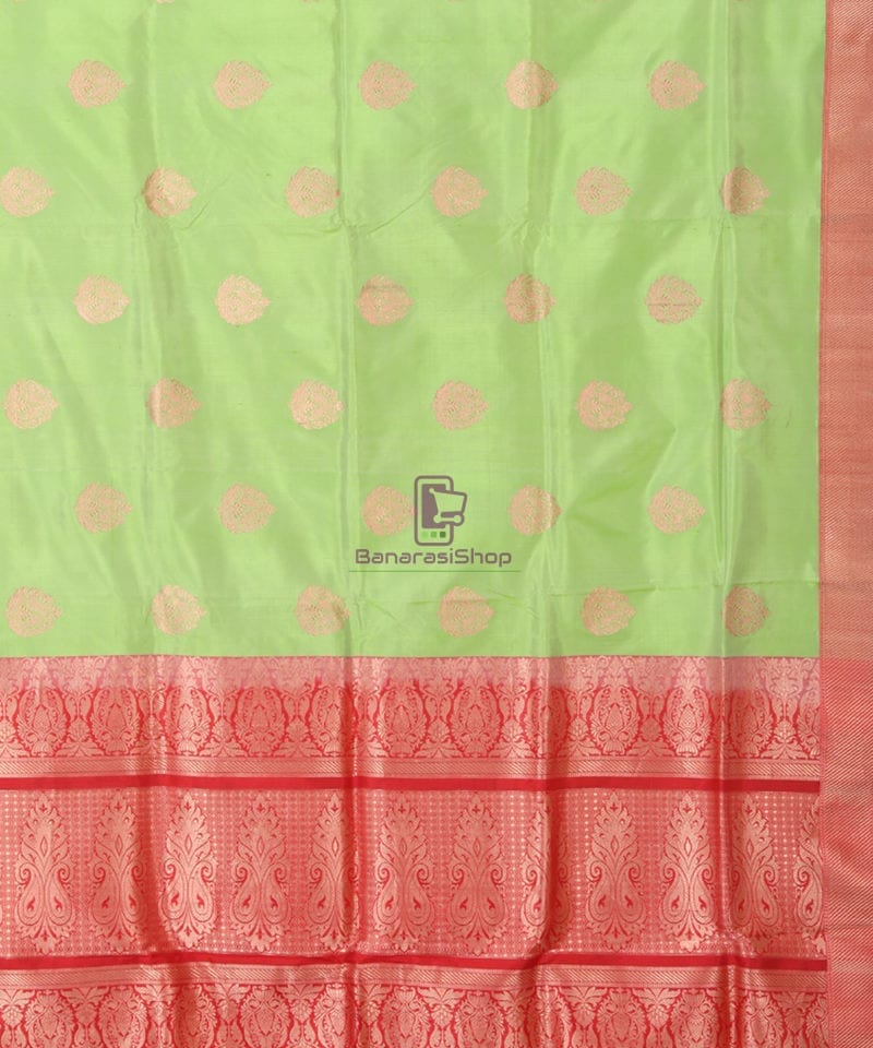 Banarasi Pure Katan Silk Handloom Lime Green Saree 2