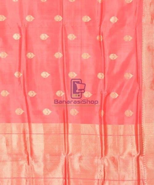 Banarasi Pure Katan Silk Handloom Blush Red Saree 5