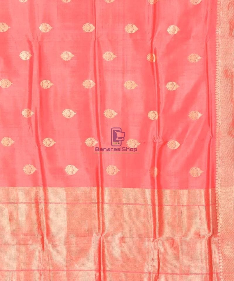 Banarasi Pure Katan Silk Handloom Blush Red Saree 2