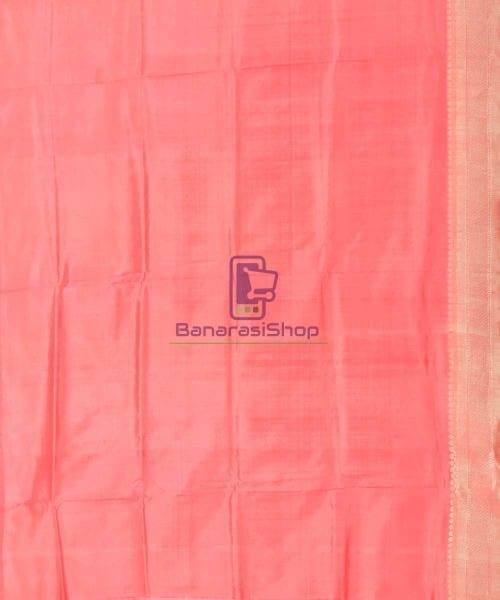 Banarasi Pure Katan Silk Handloom Blush Red Saree 6