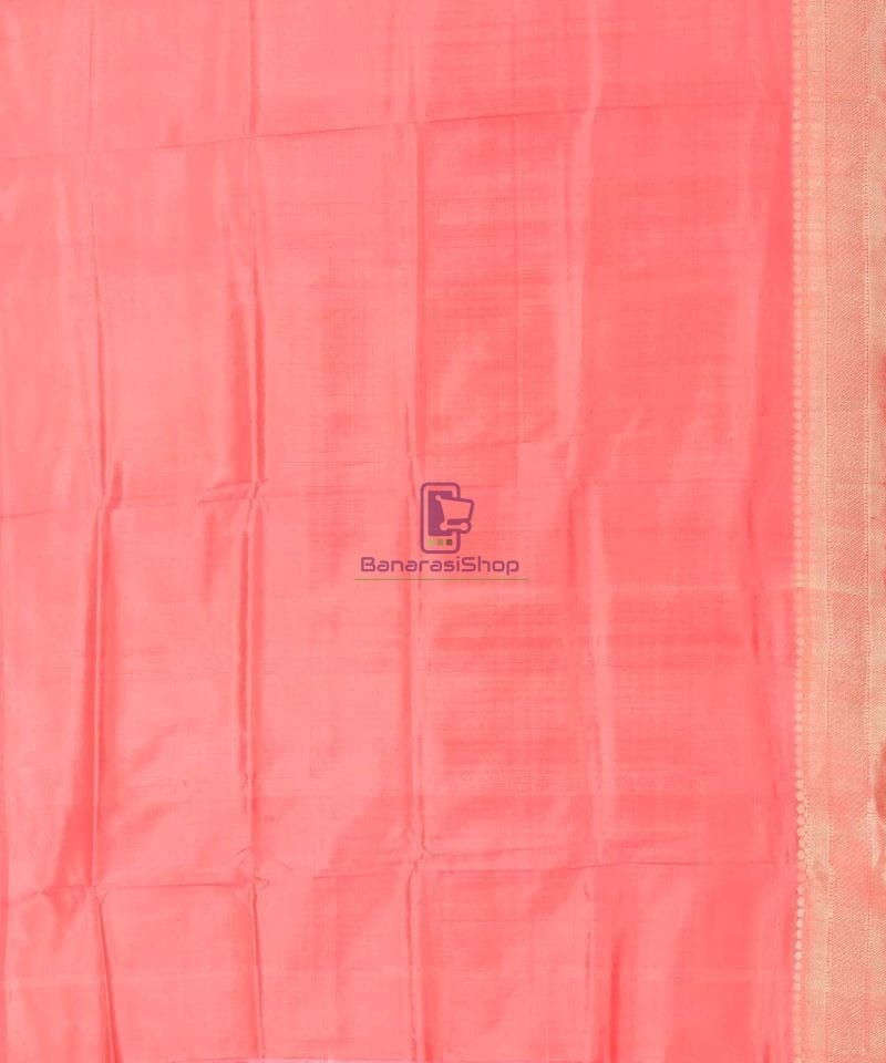 Banarasi Pure Katan Silk Handloom Blush Red Saree 3