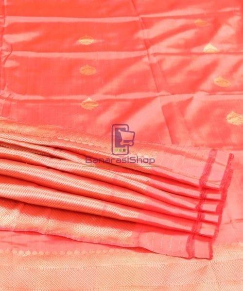 Banarasi Pure Katan Silk Handloom Blush Red Saree 7