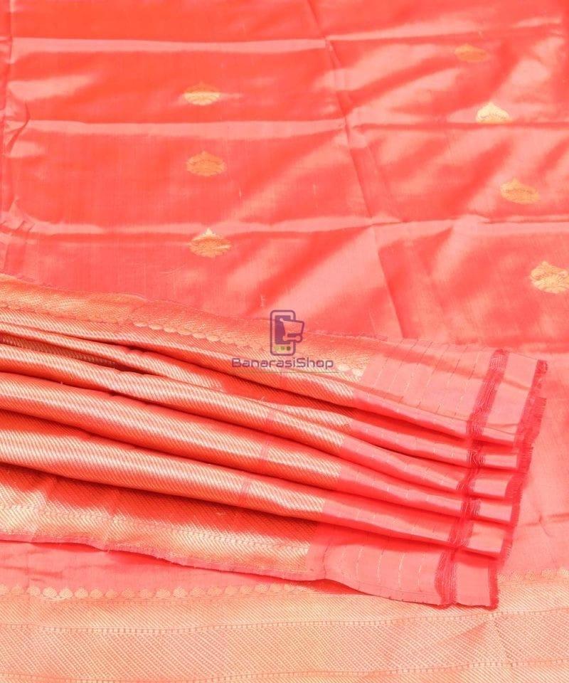 Banarasi Pure Katan Silk Handloom Blush Red Saree 4
