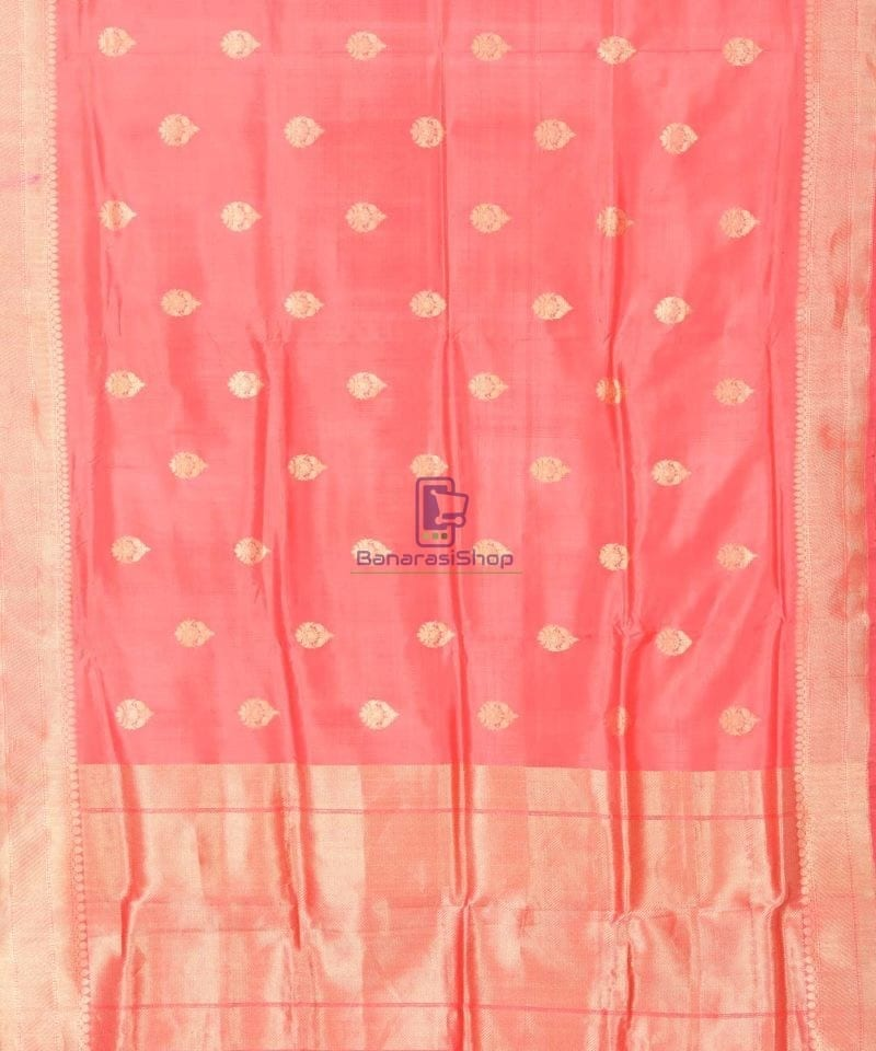 Banarasi Pure Katan Silk Handloom Blush Red Saree 1