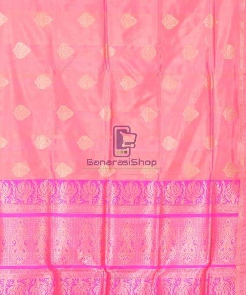 Banarasi Pure Katan Silk Handloom Punch Pink Saree 5