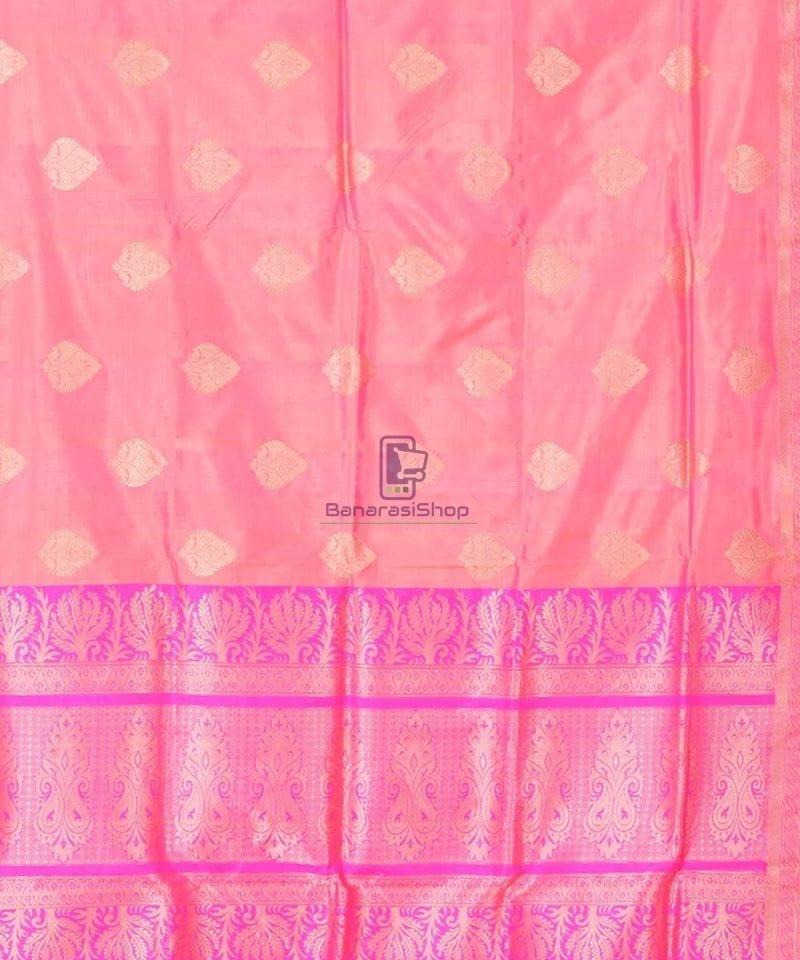 Banarasi Pure Katan Silk Handloom Punch Pink Saree 2