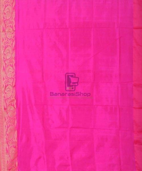Banarasi Pure Katan Silk Handloom Punch Pink Saree 6