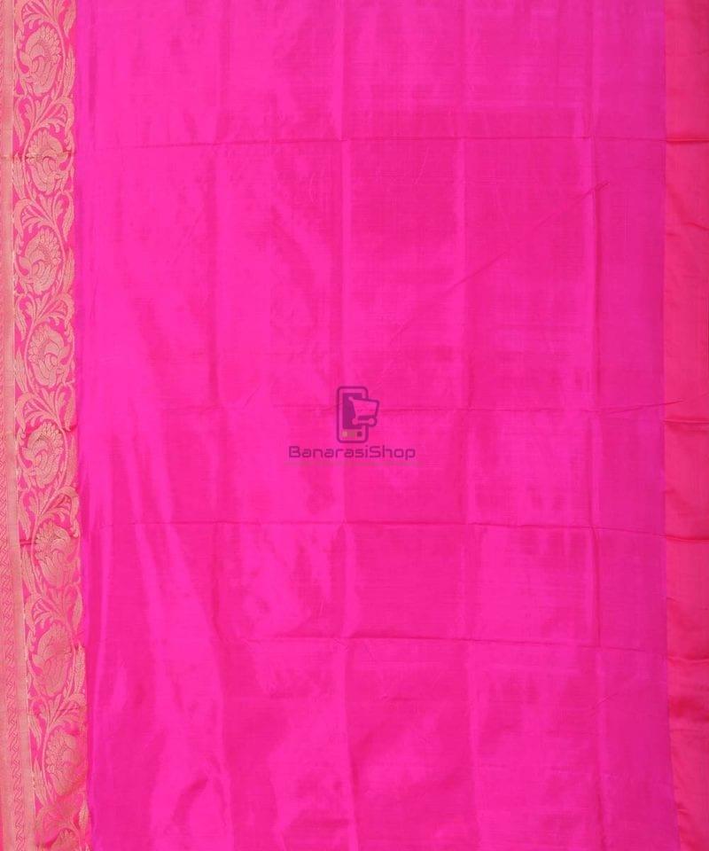 Banarasi Pure Katan Silk Handloom Punch Pink Saree 3