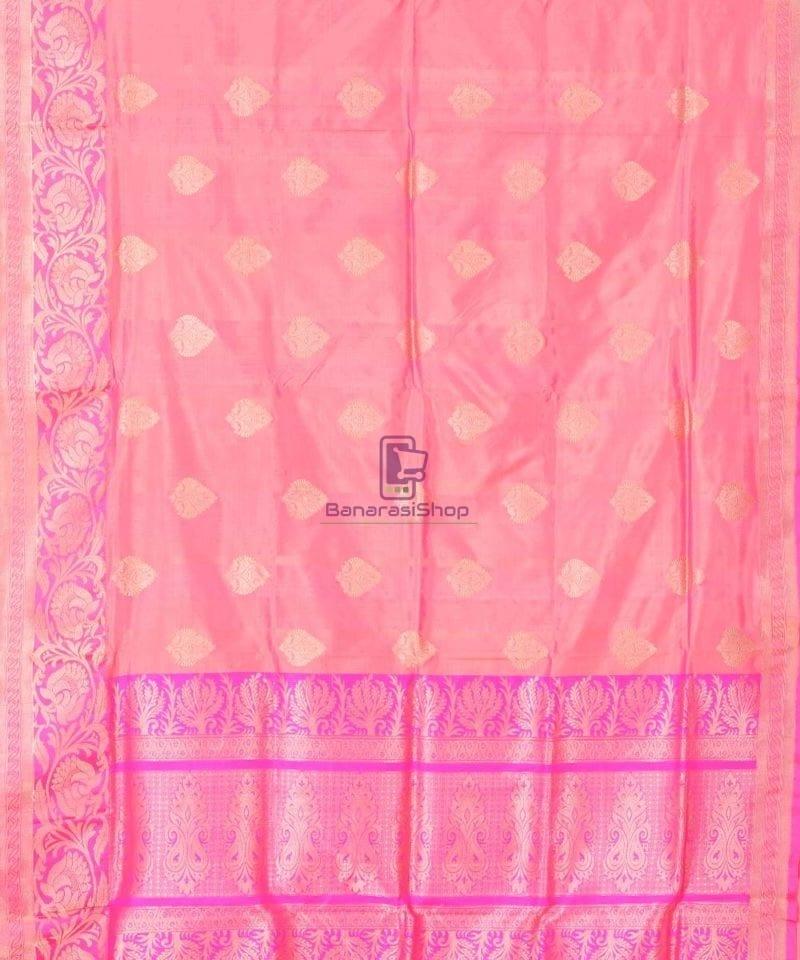 Banarasi Pure Katan Silk Handloom Punch Pink Saree 1