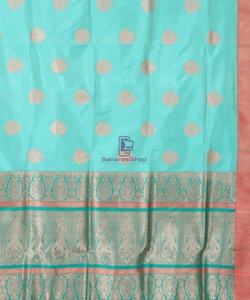 Banarasi Pure Katan Silk Handloom Cyan Blue Saree 2