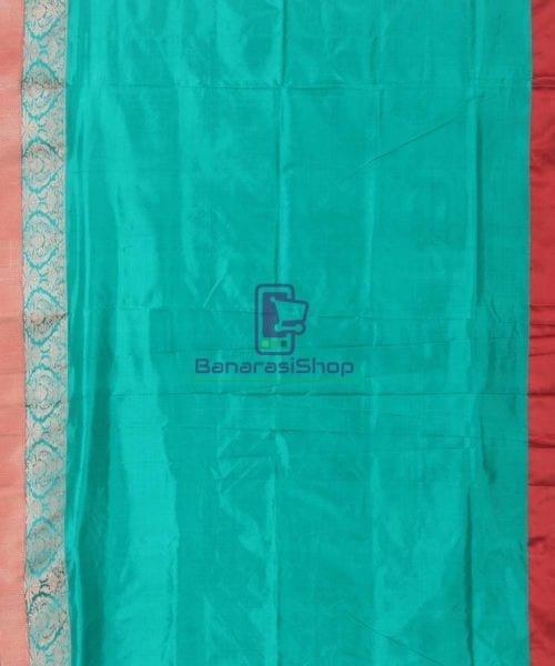 Banarasi Pure Katan Silk Handloom Cyan Blue Saree 6