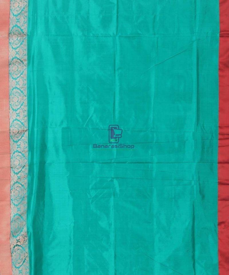 Banarasi Pure Katan Silk Handloom Cyan Blue Saree 3