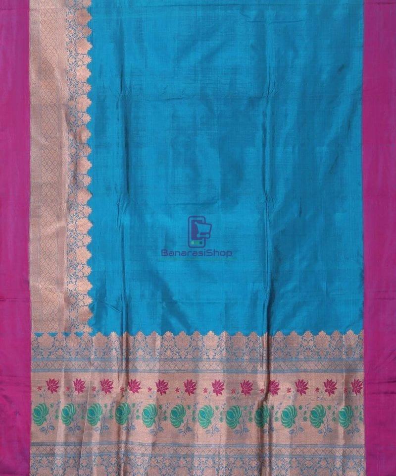Banarasi Pure Katan Silk Handloom Lapis Blue Saree 1