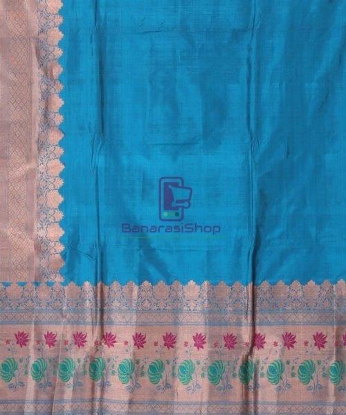 Banarasi Pure Katan Silk Handloom Lapis Blue Saree 4