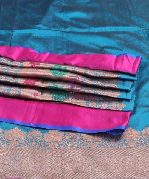Banarasi Pure Katan Silk Handloom Lapis Blue Saree 5