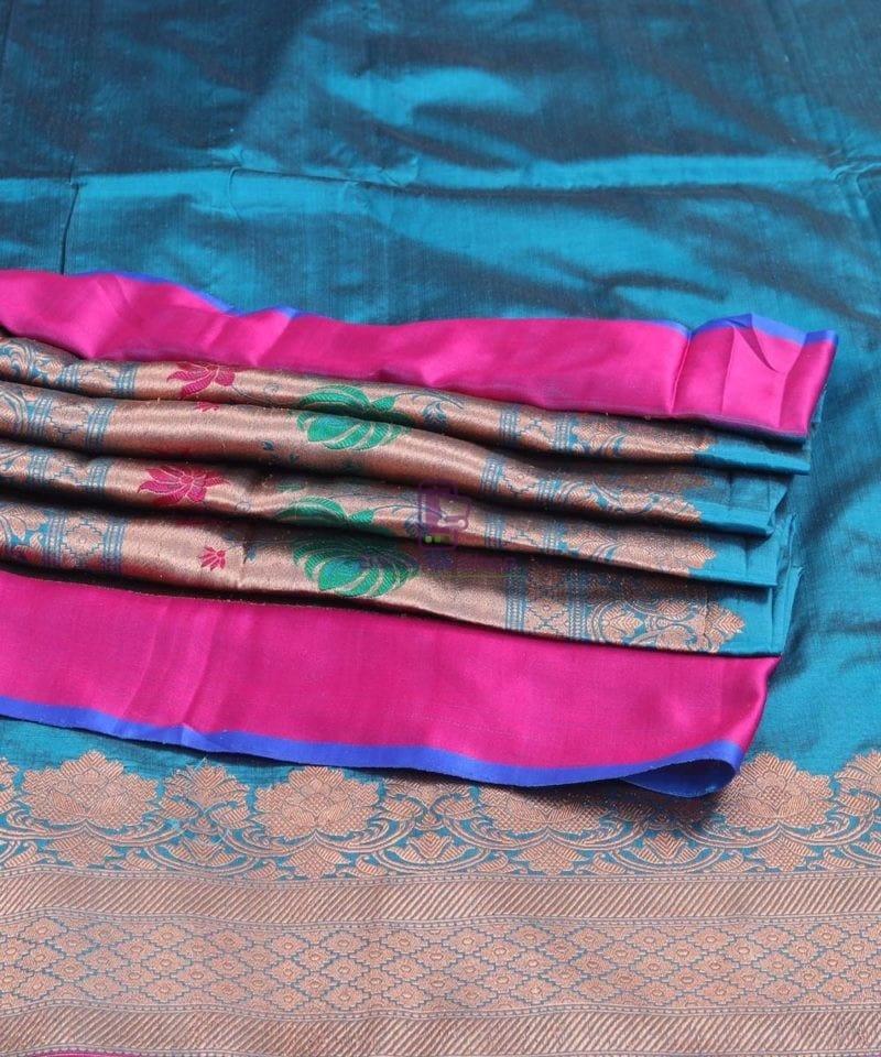 Banarasi Pure Katan Silk Handloom Lapis Blue Saree 3