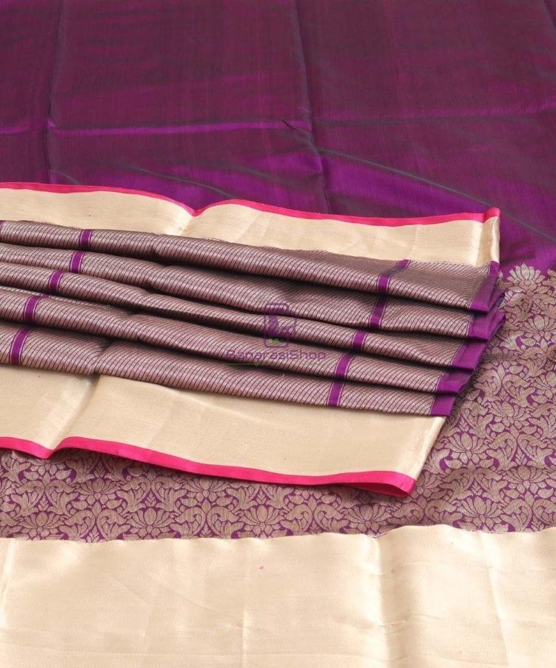 Banarasi Pure Katan Silk Handloom Eggplant Purple Saree 1