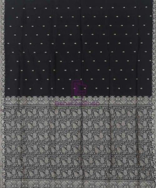 Banarasi Pure Handloom Black Katan Silk Saree 4