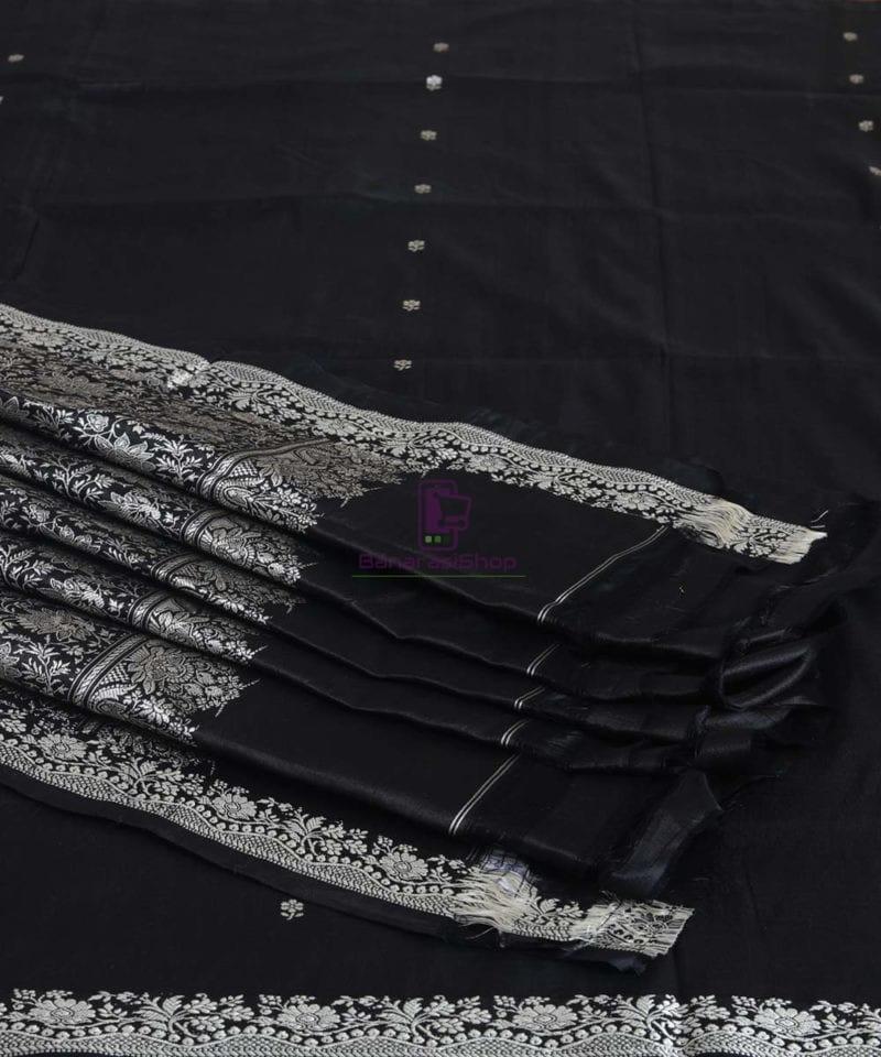 Banarasi Pure Handloom Black Katan Silk Saree 1