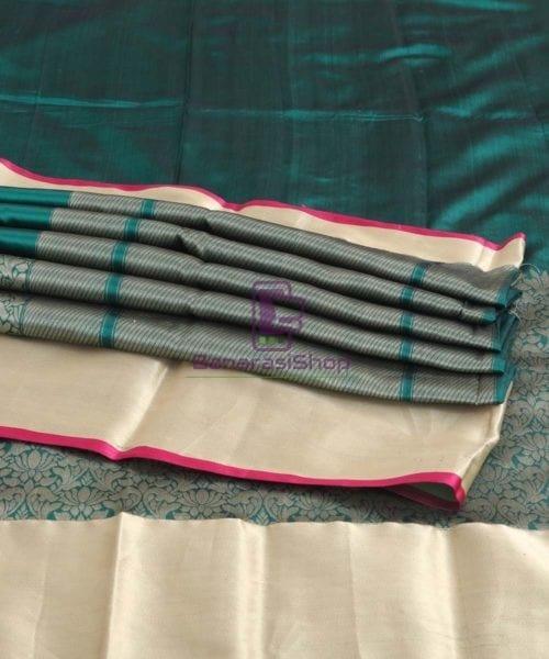 Banarasi Pure Katan Silk Handloom Pine Green Silk Saree 7