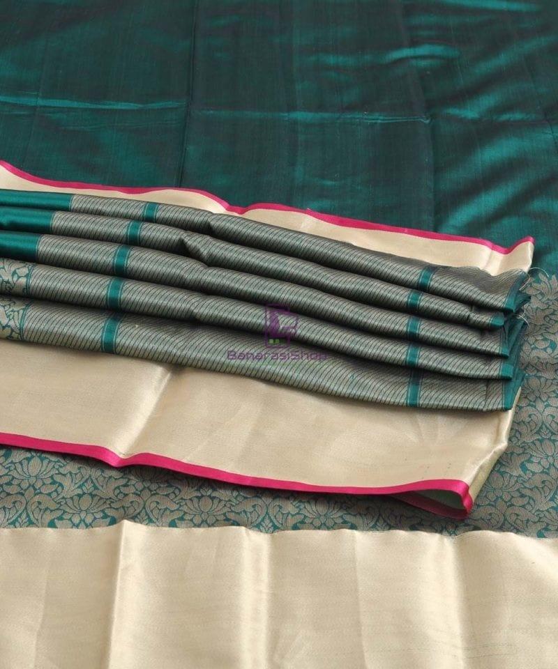 Banarasi Pure Katan Silk Handloom Pine Green Silk Saree 4