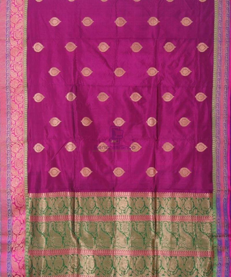 Banarasi Pure Katan Silk Handloom Jam Purple Saree 1
