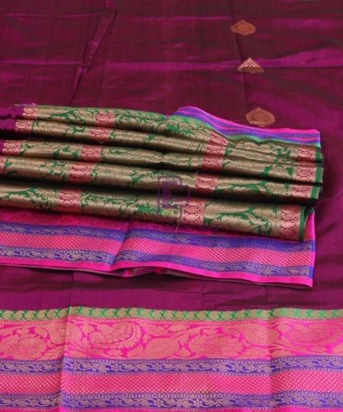Banarasi Pure Katan Silk Handloom Jam Purple Saree 5