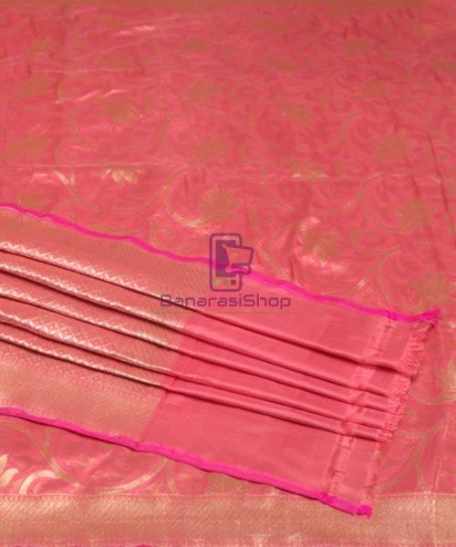 Handwoven Pure Banarasi Uppada Silk Candy Red Saree 6