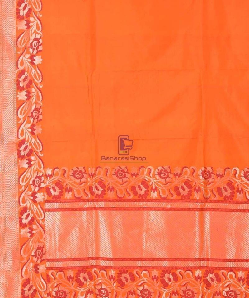 Banarasi Pure Katan Silk Handloom Orange Saree 1