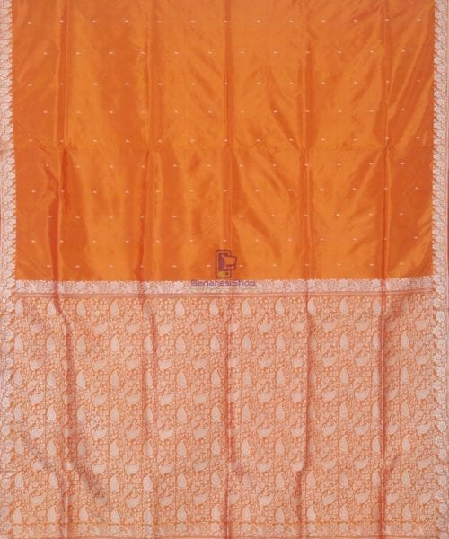 Banarasi Pure Handloom Yam Orange Katan Silk Saree 4